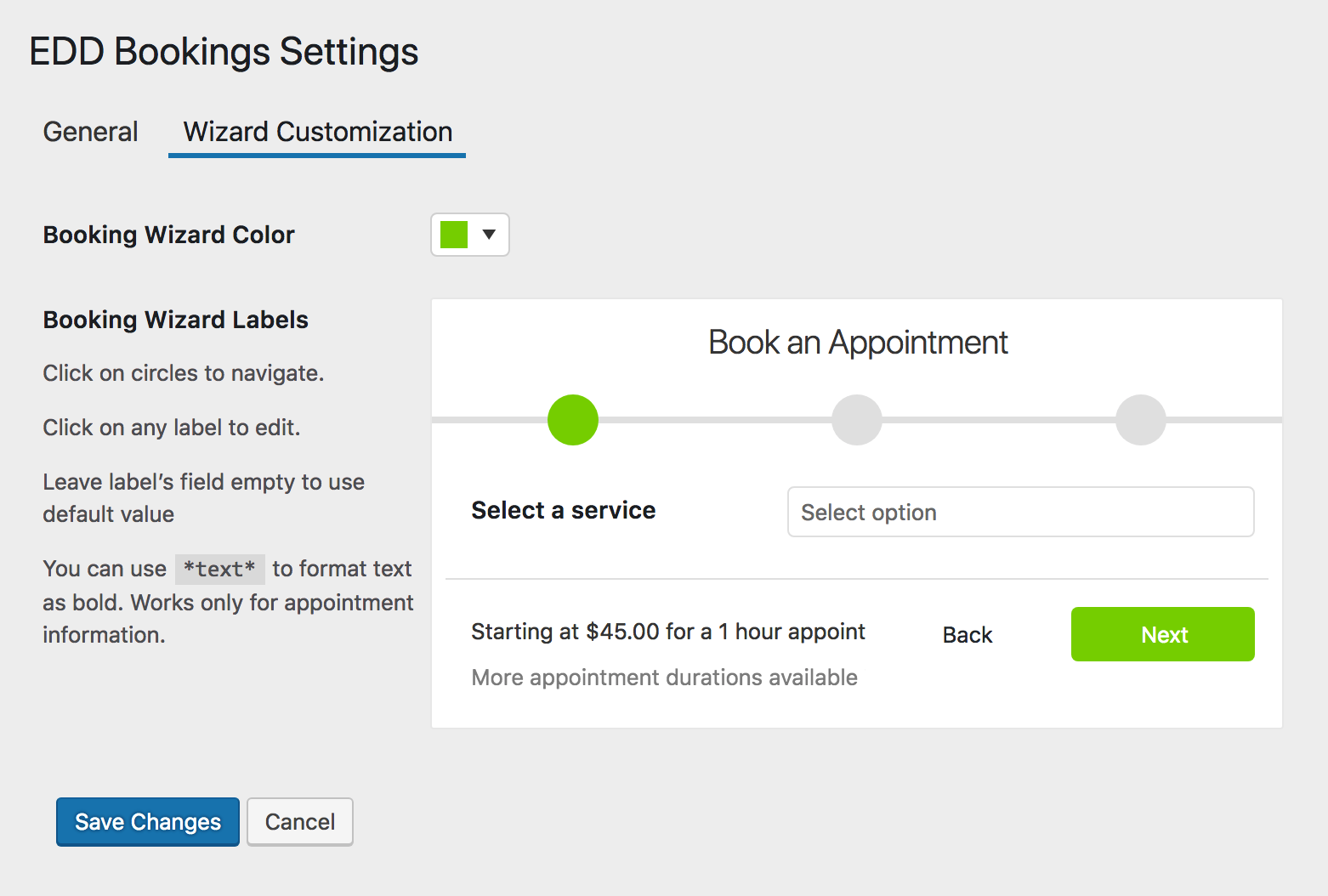 EDD Bookings Wizard Customization Settings